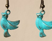Turquoise Earrings Bird Earrings Patina Earrings Swallow Dangle Metal Earrings Jewelry