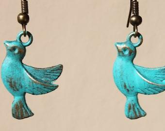 Turquoise Earrings Bird Earrings Patina Earrings Swallow Dangle Metal Earrings Jewelry