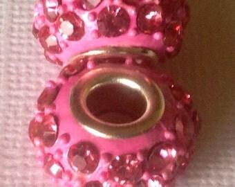 1 pink rhinestone charm,bracelet charms, european charm beads, charms for bracelet,