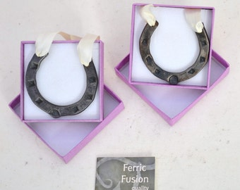 lovely little hand forged mini horseshoes, 5cm by 5cm approx