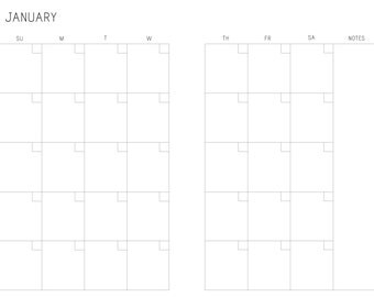 A5 Month on two pages printable calendar (M2P) Sunday-Saturday