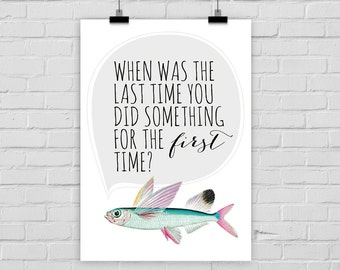 """fine-art print """"FIRST TIME"""" flying fish vintage"""