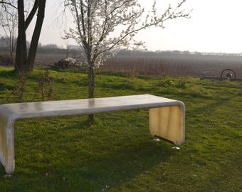 Resin dining table all sides polished with metal feet