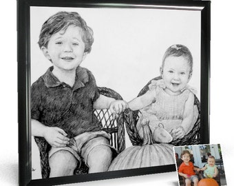 Pencil Drawing from Photo, 2 figures, delivery rolled in art tube (without frame)