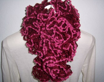 Hand made scarf costume with PomPoms, Burgundy/pink, cowl, scarf, infinity,