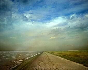 Walk of Silence; Fine Art Photography - seascape photography, landscape photography, sky, clouds, sea, darkness, hologram, photgraphy