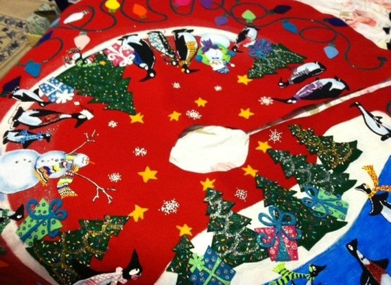 Penguin christmas tree skirt extra large by kazookittycrafts
