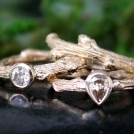 Diamond and 14k gold oak branch twig ring