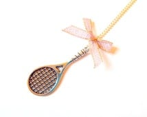 GAME, SET, and MATCH -- miniature tennis racket necklace by The Sausage