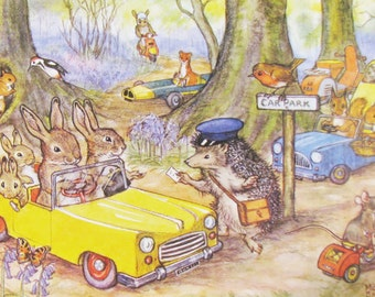 Vintage Postcard, Molly Brett, Medici Society, Woodland Car Park, Dressed Animals, Paper Collectibles, Little Bunnies, Woodland Art