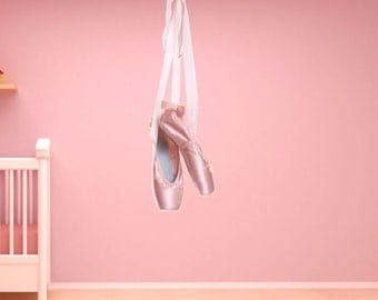 Ballet Toe Shoes Wall Decal - Reusable, Dance Wall Stickers, Girls wall decal, 2 sizes to choose from