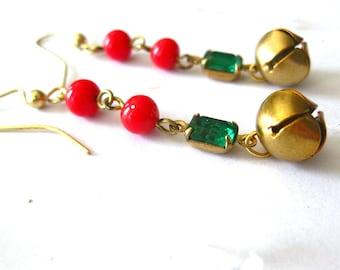 Jingle Bells - Red & Green Christmas Earrings
