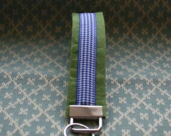 Blue Gingham Ribbon Key Chain, Wristloop Keychain, Wristlet Key Chain
