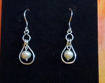 Bridal Sterling silver and Freshwater Pearl earrings