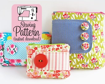 Zip Pouches PDF Sewing Pattern | Cosmetics Makeup Storage Zip Top Pouch Sewing Pattern PDF