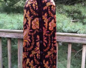 Vintage Black Skirt Paisley Velvet Knit Maxi