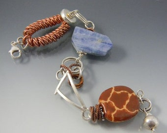 """Bracelet """"MONA""""  with sterling silver, copper and kyanite"""