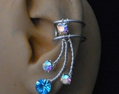 Ear Cuff in Aquamarine and Aurora Borealis  Rhinestone Pair
