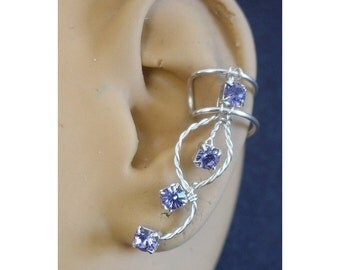 Tanzanite Rhinestone earcuff in silverfilled