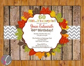 Surprise Birthday Party Invite Rustic Autumn Fall Leaves 50th 60th Printable Invitation 5x7 Digital JPG File (326)