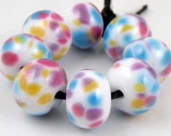 It's My Party - Handmade Lampwork Glass Round Beads 8mmx12mm - Blue, Pink, Purple, Gold, White - SRA (Set of 8 Beads)