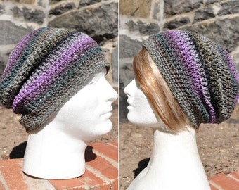 Crochet Slouchy Hat - Crochet Beanie Hat - Grey and Lavender Multicolored Skullcap - Unisex Hat - Man's Hat - Woman's Hat