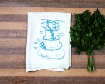 Wedding Cake Tea Towel, Gift for her, Kitchen Towel, White Cotton Dish Towel, Bridal shower Gift Wedding Gift Dish cloth, Christmas gift