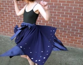 Pamina crepe and satin skirt with silver stars