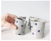sale || Creamer set grey blue polka dots - modern ceramic pottery gray cobalt