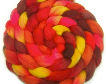 Handpainted Superwash Merino Nylon 80/20 Sock Roving - 4 oz. TIGER LILY - Spinning Fiber