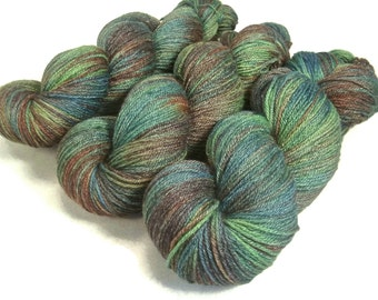Handpainted Fingering Yarn -  Bamboo Bliss - 100 gm MALLARD -  Merino Wool Bamboo Nylon Sock Yarn - Lot #15057