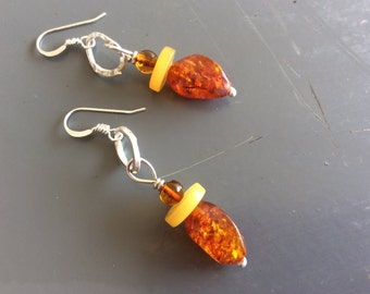 Clearance Sale - Hammered sterling silver link and amber drop earrings