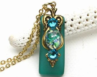 Stained Glass Necklace Glimmering Green Glass Opal