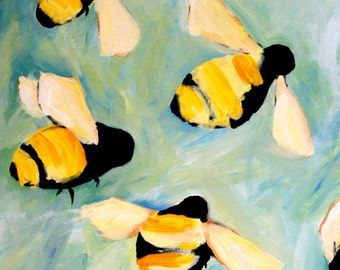 Bees happy art print of original oil painting large 11x17 cute bumble bee PRINT kids room idea