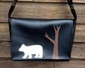 SALE! Polar Bear and Tree Black Vinyl Messenger Bag