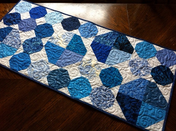 Quilted Table Runner - blue and white winter table decor, traditional patchwork snowball pattern in blue and white fabrics
