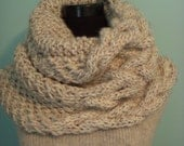 Knitted Cable Cowl, Oatmeal Grande Cowl Tweed Chunky Wrap, Shawl