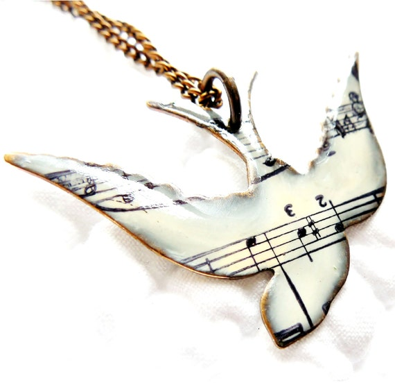 Unique necklace song bird necklace music note by susananna for Bedroom gifts for her