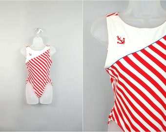 80s sailor Leotard / Vtg red and white Anchor cotton striped nautical one piece swimsuit sz M