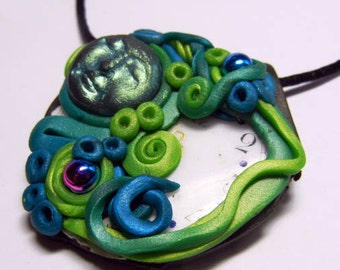"Steampunk Polymer Clay Altered Art ""Day Dreamer"" Mixed Media Pendant with Necklace"