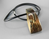 Abstract Hollow Pendant in Mixed Metal Clay Necklace by Laura Bracken