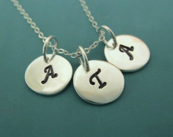"""Three Letter Charm Necklace in Sterling Silver - 3/8"""""""