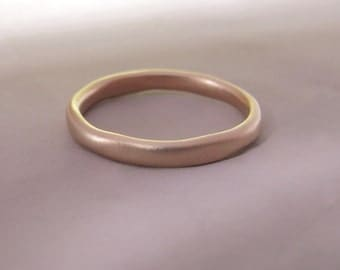 River Wedding Ring in 14k Rose Gold - READY TO SHIP in 2 mm size 7