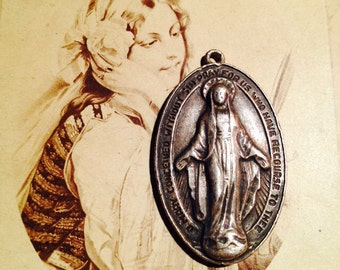 STERLING MARY MEDAL Vintage Religious Devotion