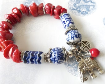 Red White Blue Stretch Bracelet With an Elephant Charm