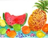 Original ACEO Tropical Fruit watercolors paintings original, fruit basket turnover, watercolor painting of tropical fruit, kitchen art