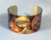 Amongst the Koi big metal cuff bracelet from Jasmine Becket-Griffith Art fishpond fish fairy japanese lilypad