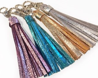 Leather Tassel Key Chain / Fob - Metallics