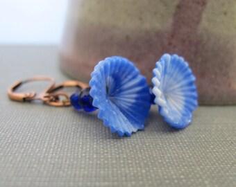 Blue Earrings, Copper Earrings, Blue Flowers, Blue Swirled Glass, Oxidized Copper, Glass Jewelry, Copper Jewelry, Vintage Glass,