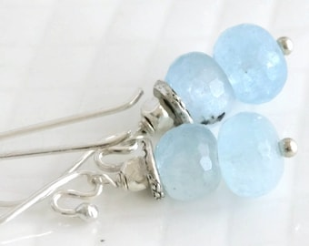 Aquamarine Hill Tribe and Sterling Silver Dangle Drop Earrings